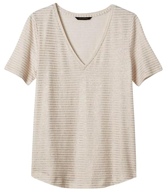 Item - Gold Metallic/Cream Stripe Vee Tee Shirt Size 4 (S)
