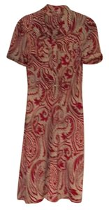 Diane von Furstenberg short dress red Silk Knee Length Work Paisley on Tradesy