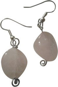 Other Buy3Get1 NEW Handmade ROSE QUARTZ Genuine Gemstone Nugget Dangle EARRINGS NWOT