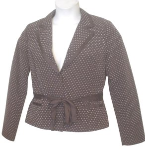 H&M H & M Polka Dot Snap Close Brown Ivory Blazer