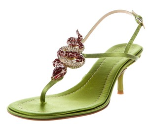 Valentino Crystal Hardware Green, Gold Sandals