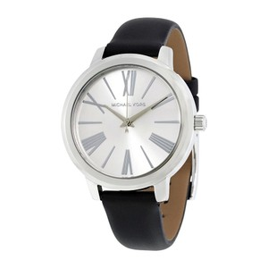 Michael Kors Silver Stainless Steel Black Leather Strap Designer Watch
