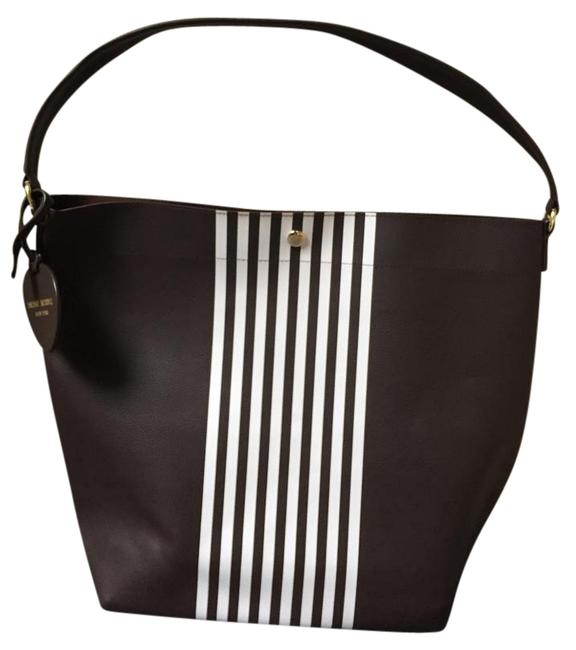 Item - Limited Edition Striped Brown and White Leather Hobo Bag