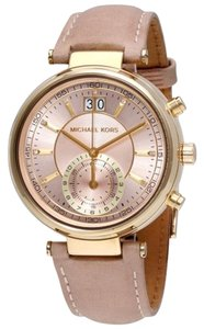 Michael Kors Rose Gold Dial ink Leather Strap Designer Ladies Dress Watch