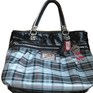 Coach Tote in Blue/plaid