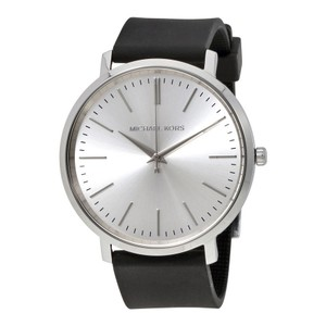 Michael Kors Silver Dial Stainless Steel Black Silicone Strap Designer Ladies Watch