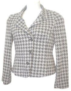 Yansi Fugel Houndstooth Lined Jacket Size 8 Black Gray Blazer