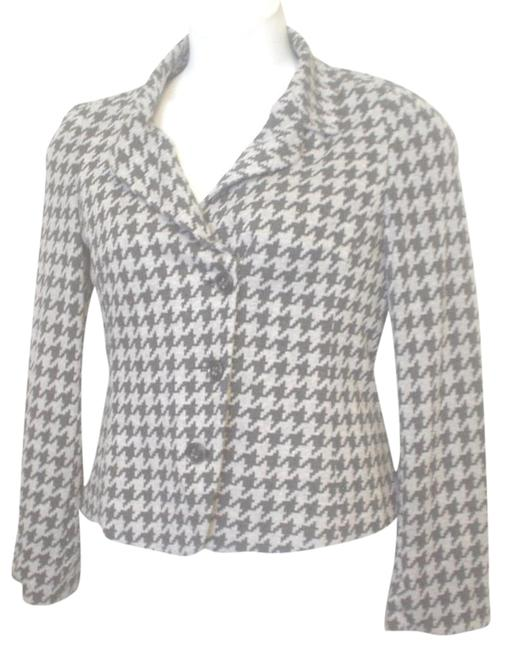 Yansi Fugel Houndstooth Lined Jacket Size 8 Black Gray Blazer Image 0