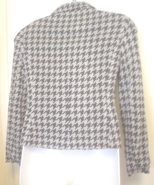 Yansi Fugel Houndstooth Lined Jacket Size 8 Black Gray Blazer Image 1