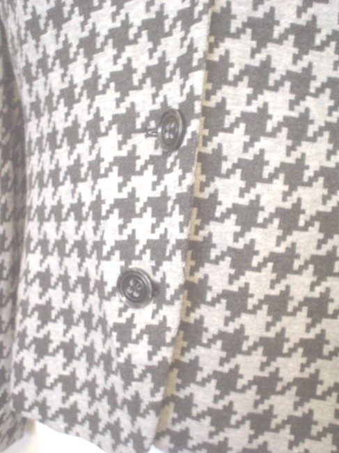 Yansi Fugel Houndstooth Lined Jacket Size 8 Black Gray Blazer Image 5