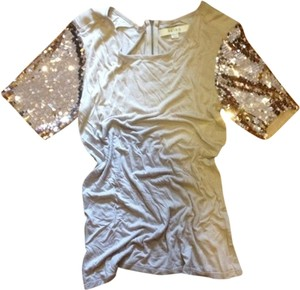 Reiss Sequin Glam Glitter Tshirt Top Purple