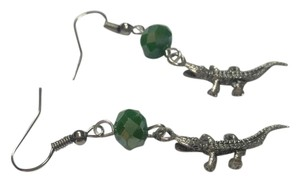 Other Alligator Green Crystal Earrings Silver Tone J2967