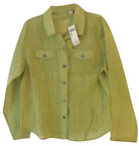 Chico's Button Down Shirt Lime green