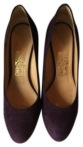 Salvatore Ferragamo Suede Wedge Gold Trim Purple Pumps