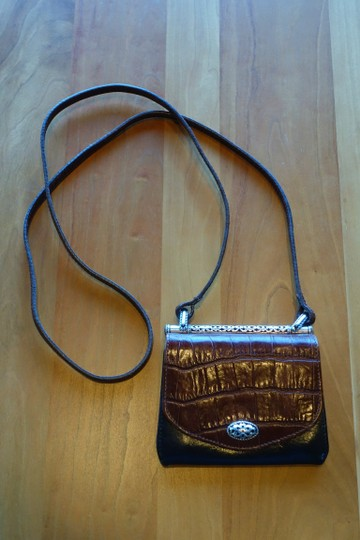Brighton Leather Alligator Silver Hardware Cross Body Bag Image 1