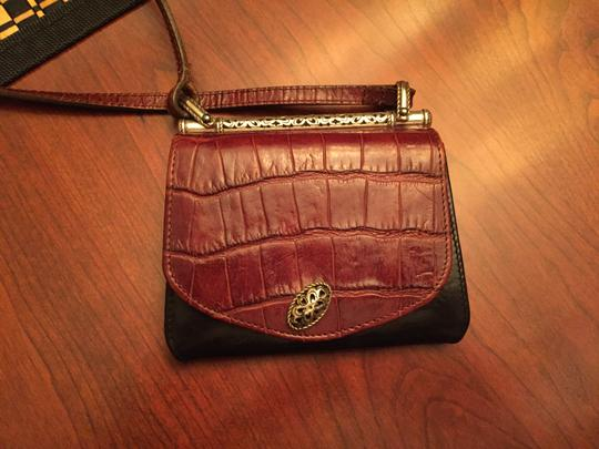 Brighton Leather Alligator Silver Hardware Cross Body Bag Image 2