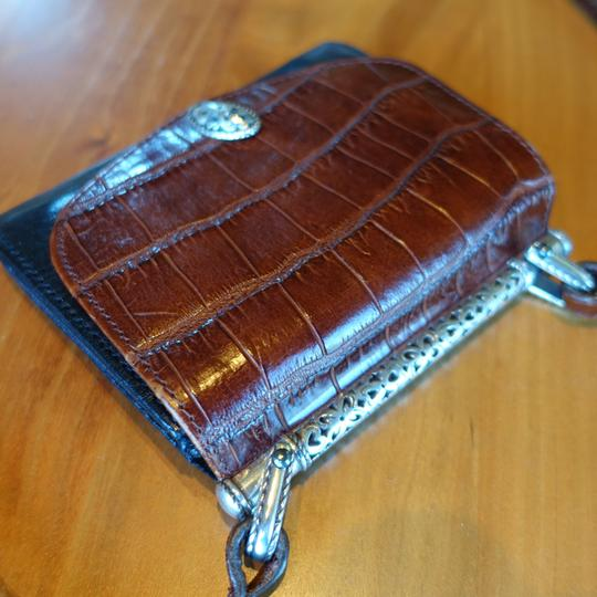 Brighton Leather Alligator Silver Hardware Cross Body Bag Image 3