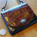 Brighton Leather Alligator Silver Hardware Cross Body Bag Image 4