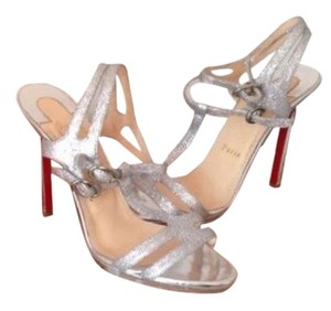 Christian Louboutin Silver Glitter Formal