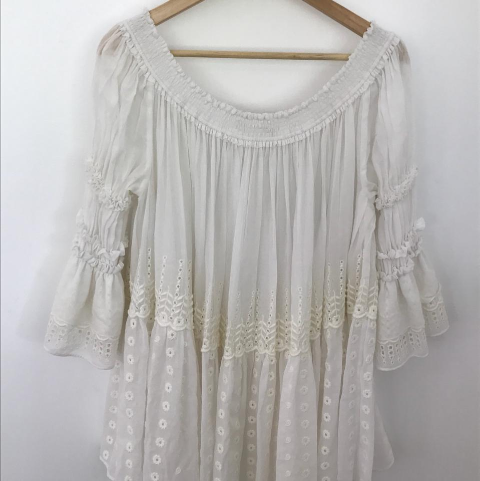 Chloe White Women S Off The Shoulder Eyelet Peasant Blouse Size 4 S