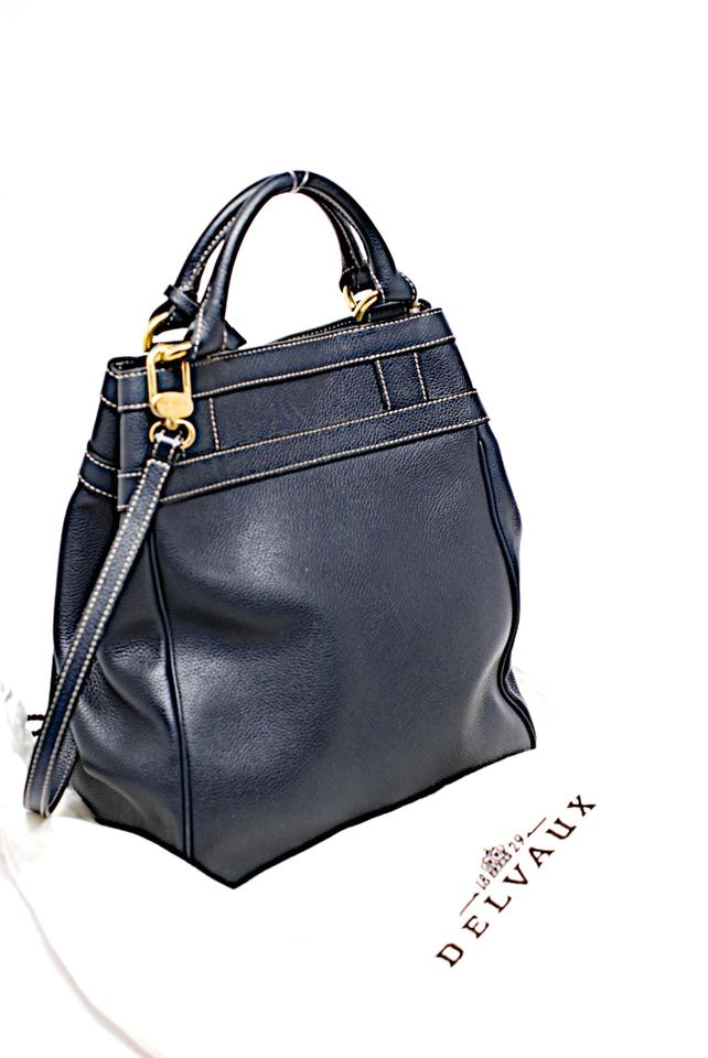 71f7c81a53 Delvaux Dark Satchel Made In France Vintage Navy Blue Leather ...