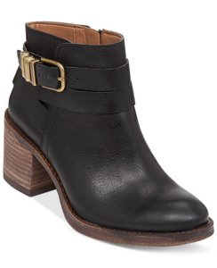 Lucky Brand Heel And Tan Buckle Detail Black Boots