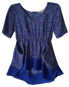 BCBGeneration Polka Dot Peplum Ruffle Top Blue & Yellow