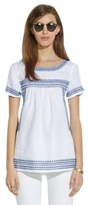 Madewell Linen Embroidered Top White