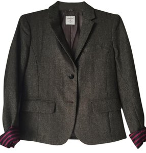 Gap Tweed Herringbone Striped Fuchsia Brown Herringbone Blazer