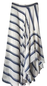 Rachel Roy High Low Side Zip Striped Maxi Skirt Denim & White