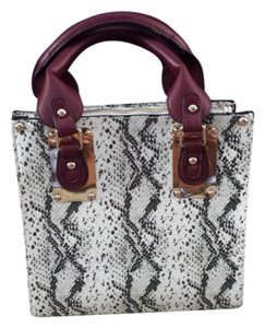 Steve Madden Snakeskin Satchel in Snakeprint Ivory and Black