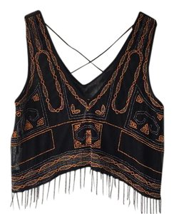 Free People Vest Fringe Beaded Top Black