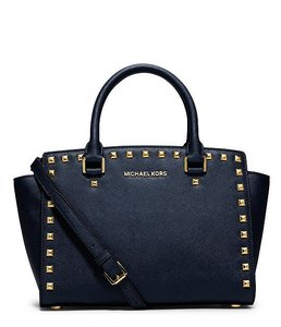 Michael Kors Leather Selma Gold Satchel in Navy