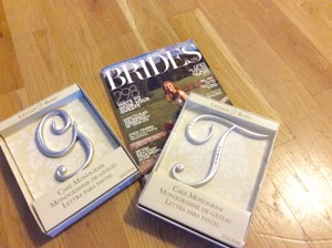 Large Silver Initial Cake Toppers