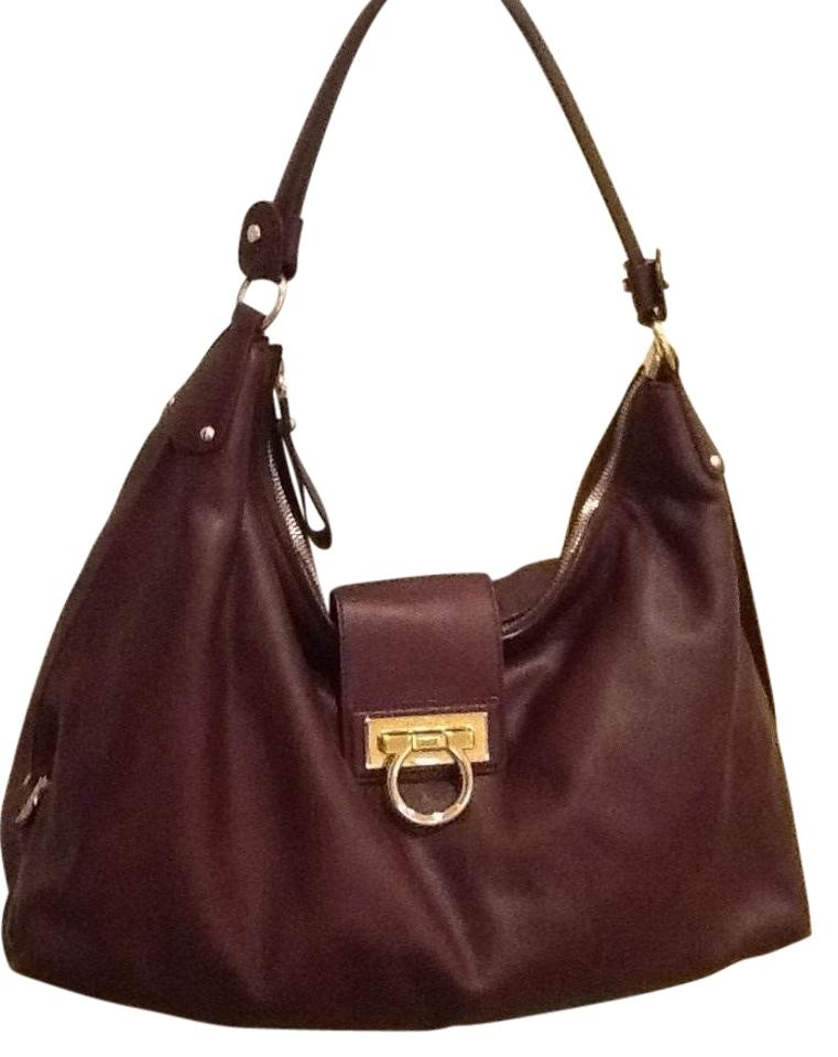 9740290863 Salvatore Ferragamo Handbag Ntw with Dust Cover Plum Leather Hobo ...