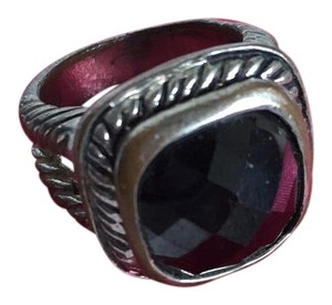 Black Stone Silver Cable Wrap Ring