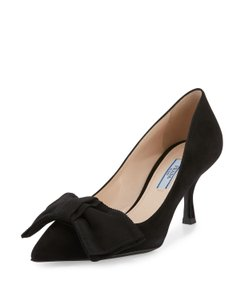 Prada Pointed Toe Suede Stiletto Bow Black Pumps