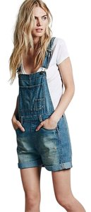 Free People Overall Shortall Denim Shorts-Distressed