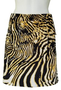Etcetera Corduroy Tiger Striped Skirt Black Gold