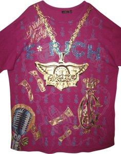 Christian Audigier T Shirt Magenta