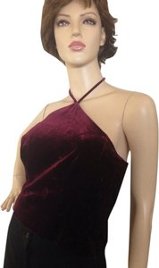 Ann Taylor Velvet Halter Evening Cranberry Halter Top