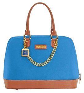 Joy & IMAN Hermes Birkin Like Coach Like Satchel in Blue with Tan Trim
