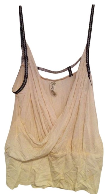 Free People Top Beige with Black Trim