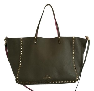 Valentino Reversible Studded Leather Tote in Olive Green and Pink