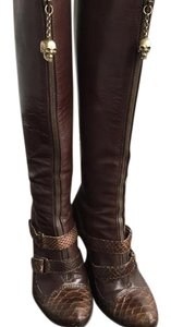 Alexander McQueen Leather Gold Brown Boots