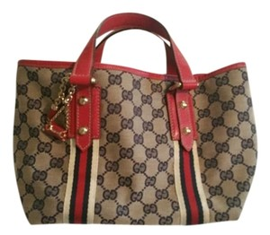 Gucci Tote in Tan 4, blue, and red