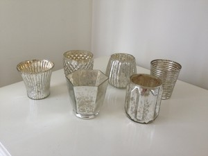 48 Silver Mercury Glass Votive Candleholders