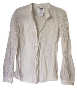 Chloé Chloe Button Downs Neutrals Greys Longsleeve Top White Grey