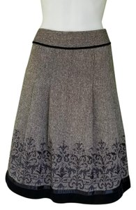 Ann Taylor LOFT Herringbone A-line Skirt Brown