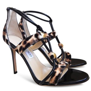 Jimmy Choo Leopard Stiletto Patent Leather Sandals